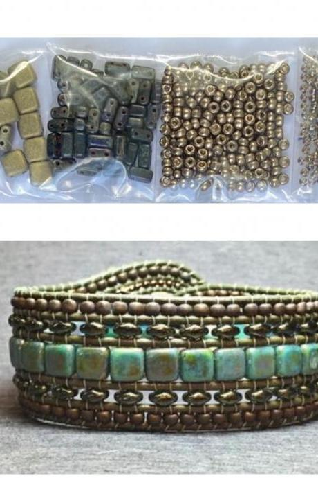 KIT Wide Leather Beaded Cuff Kit by Leila Martin Bonny Bohemian Gold Black Bronze DIY Intermediate Instructions Complete NO Tools #8