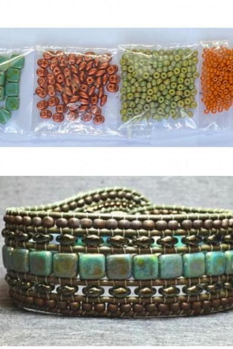 KIT Wide Leather Beaded Cuff Kit by Leila Martin Bonny Bohemian Orange Green DIY Intermediate Instructions Complete NO Tools #7