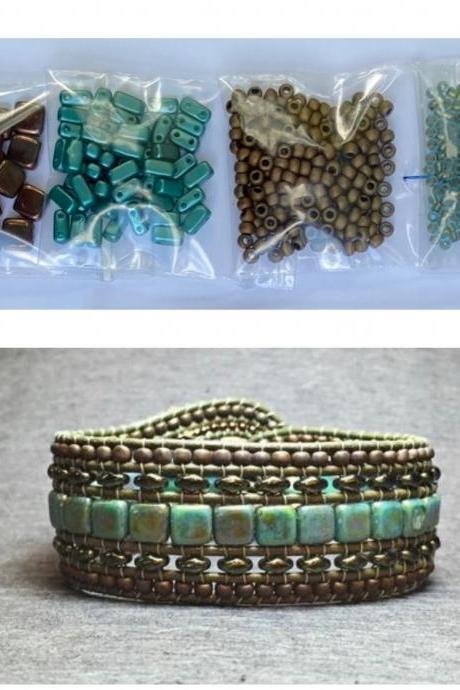 KIT Wide Leather Beaded Cuff Kit by Leila Martin Bonny Bohemian Teal Brown Bronze DIY Intermediate Instructions Complete NO Tools #6