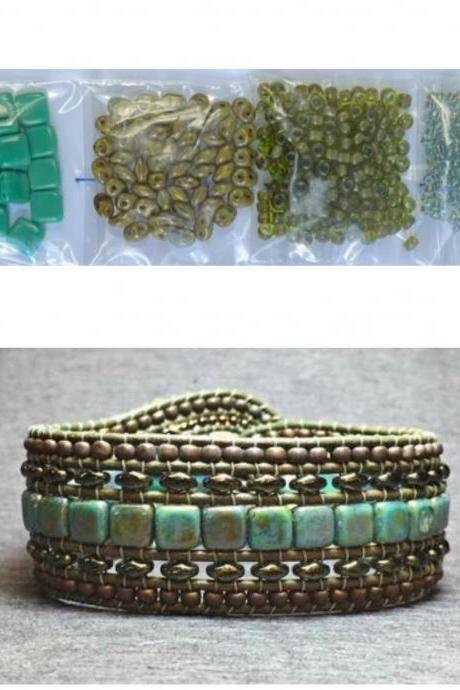 KIT Wide Leather Beaded Cuff Kit by Leila Martin Bonny Bohemian Turquoise Olive Blue DIY Intermediate Instructions Complete NO Tools #2