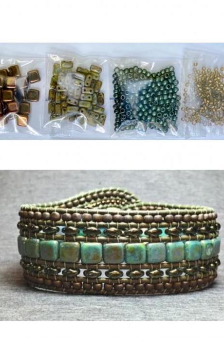 KIT Wide Leather Beaded Cuff Kit by Leila Martin Bonny Bohemian Blue Olive Bronze DIY Intermediate Instructions Complete NO Tools #1