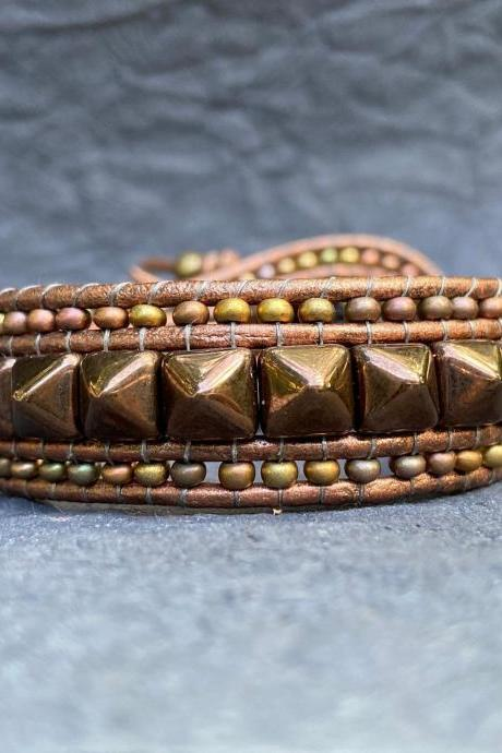 KIT Punk Spike Bracelet Kit Cuff Leather 2-holed 6x6mm Pyramid Beads Metallic Khaki