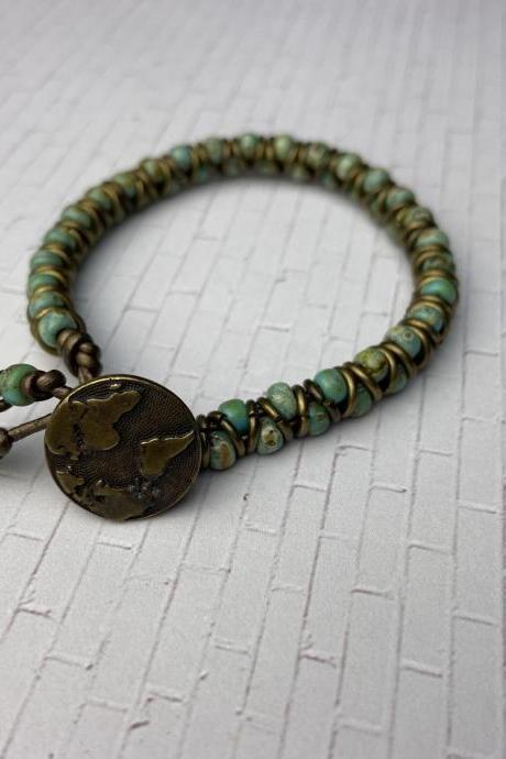 Earth Button Zig Zag Bracelet Antique Gold Seafoam Picasso Japanese Glass Seed Bead Bronze Leather Finished Bracelet