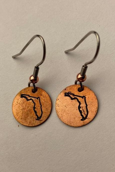 Florida State Pride Hand Stamped Circle Drop Copper Earrings Floridian Sunshine Gators