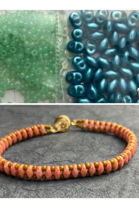 Kit Turquoise Blue Mint Green Simple SuperDuo Bracelet Easy No Tools Needed Mix DIY Beginner Fun