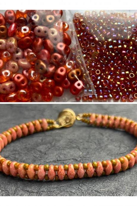 Kit Chili Red Mix Simple SuperDuo Bracelet Easy No Tools Needed Mix DIY Beginner Fun Fall Colors