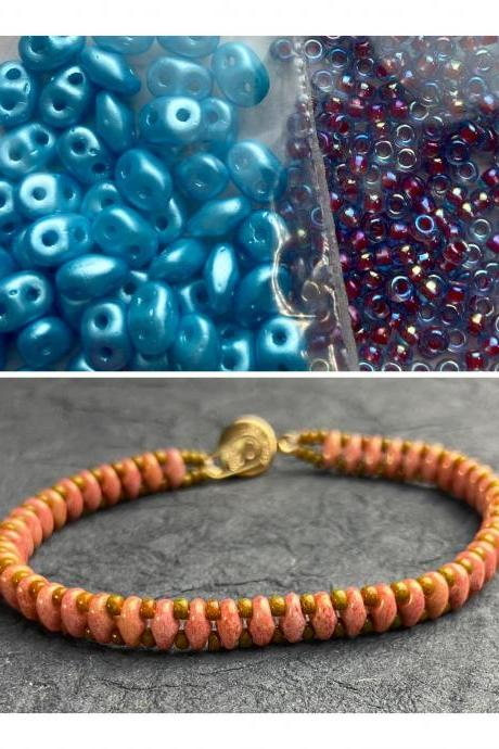 Kit Turquoise Blue Purple Simple SuperDuo Bracelet Easy No Tools Needed Mix DIY Beginner Fun