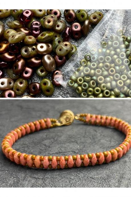 Kit Olive Rose Mix Simple SuperDuo Bracelet Easy No Tools Needed Mix DIY Beginner Fun