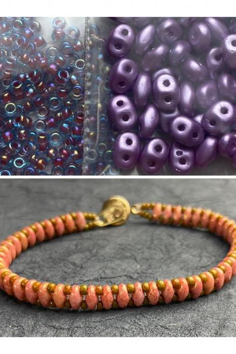 Kit Lilac Purple Simple SuperDuo Bracelet Easy No Tools Needed Mix DIY Beginner Fun