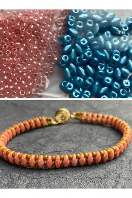 Kit Coral Pink Turquoise Blue Simple SuperDuo Bracelet Easy No Tools Needed Mix DIY Beginner Fun