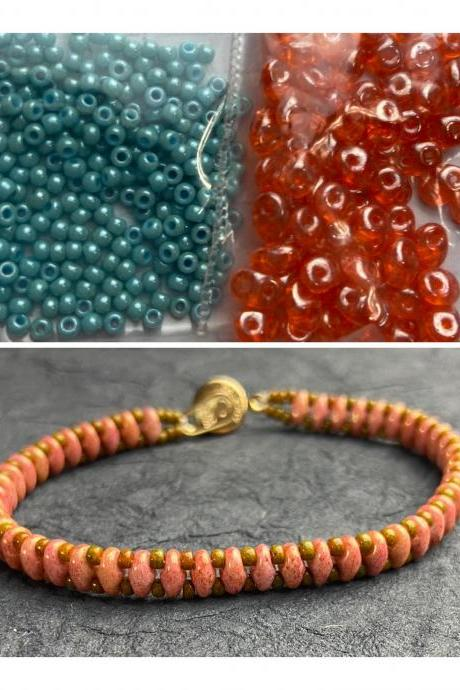 Kit Coral Orange Turquoise Blue Simple SuperDuo Bracelet Easy No Tools Needed Mix DIY Beginner Fun
