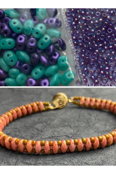 Kit Turquoise Purple Mix Simple SuperDuo Bracelet Easy No Tools Needed Mix DIY Beginner Fun