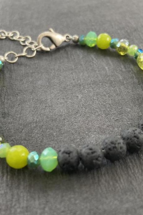 Green Aromatherapy Essential Oil Diffuser Bracelet Gemstone Healing Lava Stone Teal Lime Mix