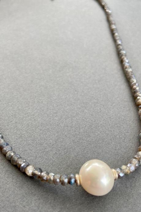 Large Freshwater Pearl Faceted Gray Moonstone Labradorite Minimalist Necklace Adjustable