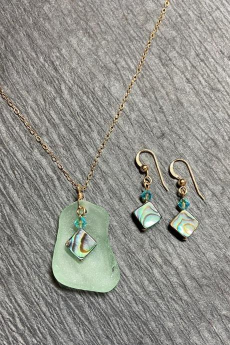 Beach Glass Coke Bottle Necklace and Earring Set Abalone Paua Shell Mermaid Blue Sea Glass Gold Filled Lake Superior