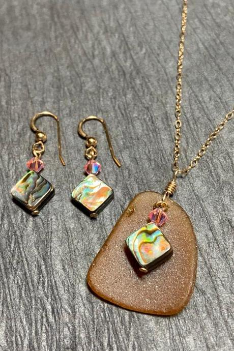 Beach Glass Necklace and Earring Set Abalone Paua Shell Mermaid Brown Pink Sea Glass Gold Filled Lake Superior