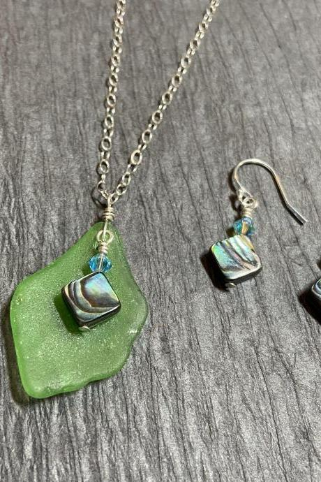 Green Lake Superior Beach Glass Abalone Paua Shell Necklace and Earring Set Sterling Silver Mermaid