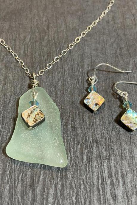 Mermaid Beach Glass Coke Bottle Necklace and Earring Set Abalone Paua Shell Blue Sea Glass Lake Superior Sterling Silver