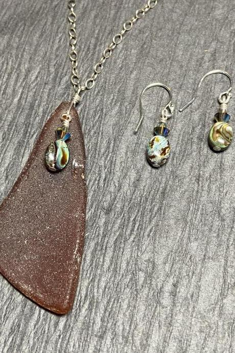 Lake Superior Beach Glass Abalone Paua Shell Necklace and Earring Set Sterling Silver Mermaid Brown Earth