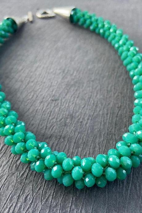 Green Opal Chrysoprase Crystal Bead Crochet Rope Necklace