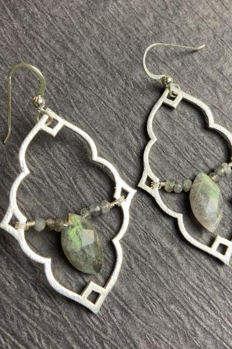Moroccan Lantern Statement Labradorite Chatoyant Flashy Large Earrings