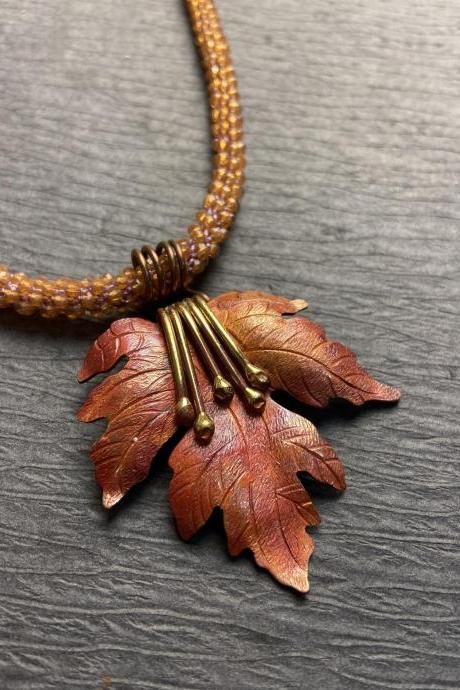 Fall Autumn Maple Leaf Copper Orange Lilac Bead Crochet Rope Long