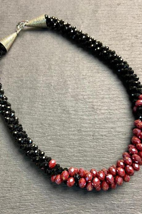Raspberry and Black Bead Crochet Rope Necklace Red Wine Berry Burgundy
