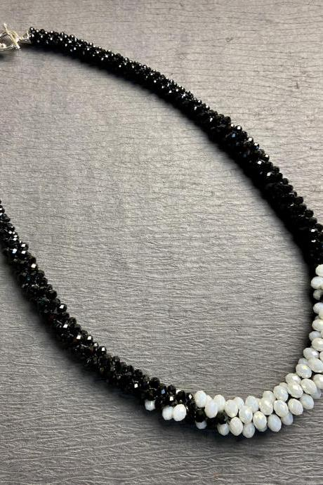 Mod Black & White Long Bold Chunky Bead Crochet Rope Necklace