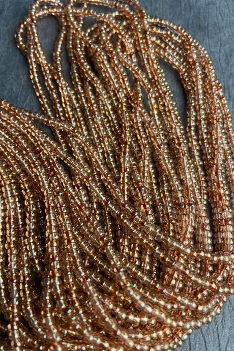 8/0 Picasso Dark Pink Brown Trans Luster Rose Czech Seed Beads 12 Strand Hank