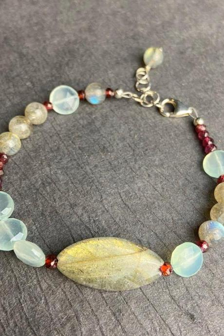 Asymmetrical Natural Faceted Garnet Labradorite Chalcedony Sterling Silver Bracelet Bead Adjustable