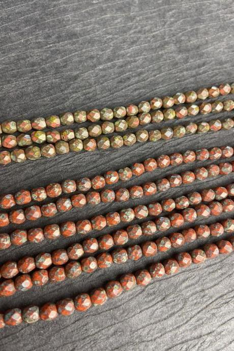 Strand of 50 4mm Czech Glass Fire Polished Faceted Round Picasso Coral Olive Small Beads Loom
