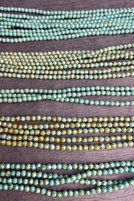 Strand of 50 4mm Czech Glass Fire Polished Faceted Round Picasso Turquoise Small Beads Loom