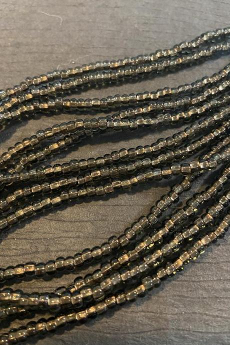 6/0 Czech Seed Bead Hank Black Diamond Copper Lined C/L Smokey Topaz Sparkle