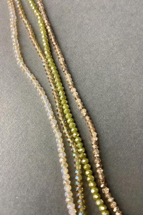 Lot of 4 Strands Shades of Pale Pastel Green Rose Gold Beige Soft Color Mix Crystal Strand Bead Crochet #67