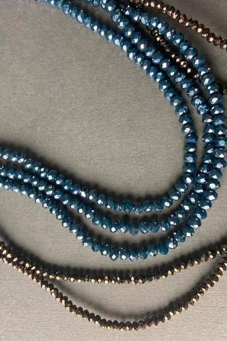 Lot of 5 Strands Iris Bronze Metallic 3mm 4mm Navy Blue Graduated Crystal Strand Bead Crochet Kit #42