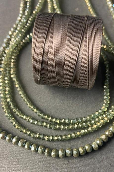 Lot of 4 Strands Transparent Light Olive Green Graduated Crystal Strand Bead Crochet #43
