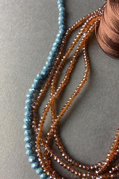 Lot of 5 Strands Topaz Chocolate 3mm 4mm Sky Blue Graduated Crystal Strand Bead Crochet Kit #45