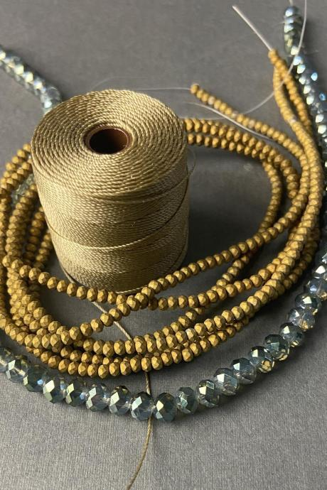 Lot of 4 Strands Matte Opaque Gold Olive Teal Trans Green Crystal Metallic Sparkle Strand Bead Crochet Kit #40