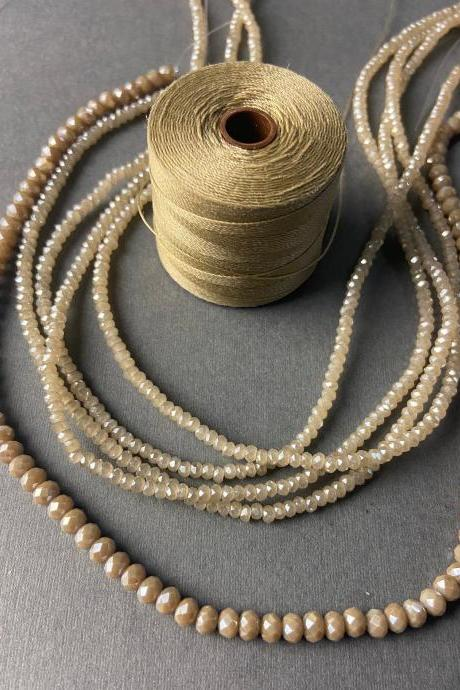 Lot of 5 Strands Beige Taupe Khaki Neutral Graduated Crystal Strand Bead Crochet Kit #38