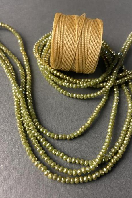 Lot of 4 Strands Opaque Olive Green Crystal Metallic Sparkle Strand Bead Crochet Kit #37