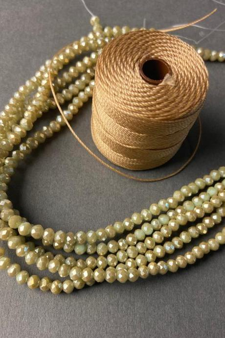 Lot of 5 Strands Beige Gold Aged Khaki Crystal Strand Bead Crochet Kit #32
