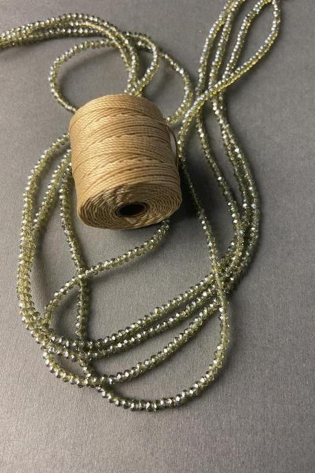 Lot of 4 Strands Transparent Olive Sage Green Crystal Metallic Sparkle Strand Bead Crochet Kit #31