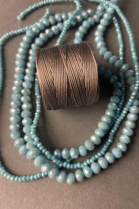 Lot of 4 Strands Opaque Sky Robins Egg Blue Graduated Crystal Strand Bead Crochet Kit #34