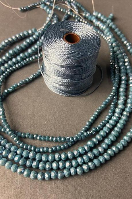 Lot of 5 Strands Dusty Teal Denim Slate Blue Graduated Crystal Strand Bead Crochet Kit #29