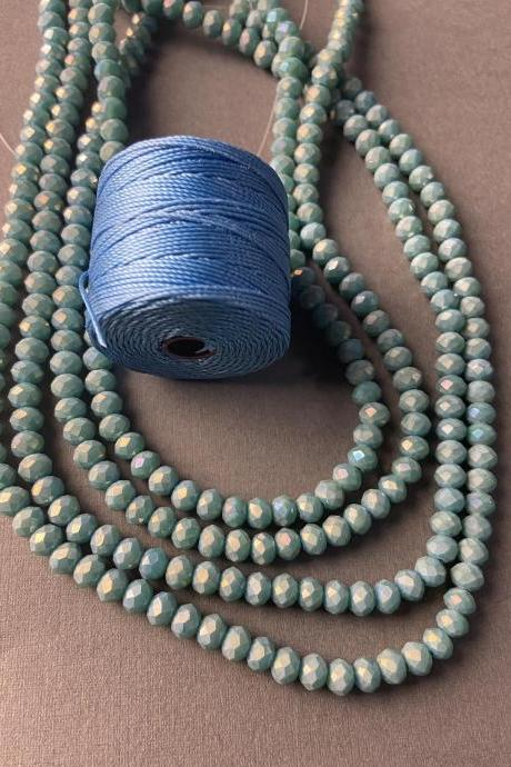 Lot of 4 Strands Matte Dusty Ocean Blue Crystal Strand Bead Crochet Kit #7