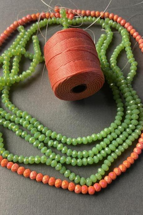 Lot of 5 Strands Coral Kelly Green Orange Pink Crystal Strand Bead Crochet Kit #6