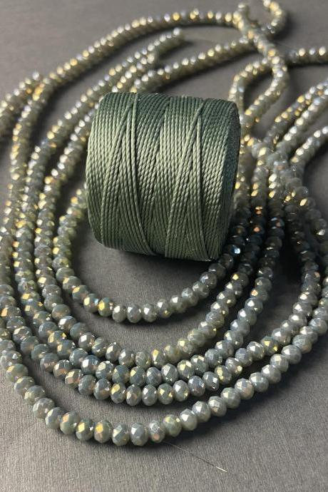 Lot of 5 Strands Sage Olive Slate Gray Green Gold Metallic Crystal Strand Bead Crochet Kit #5