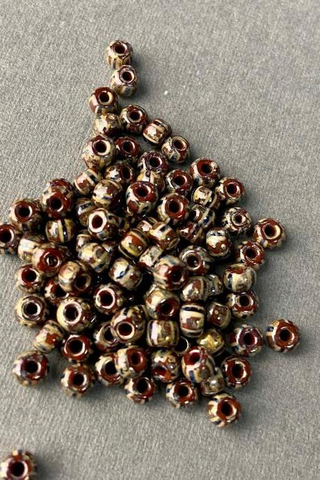6/0 Aged Picasso Black White Striped Czech Seed Bead Metallic Oil Slick Brown 93050