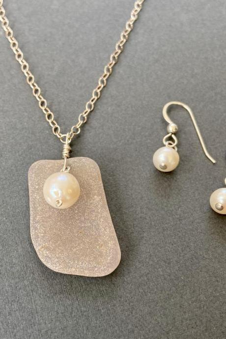 Light Taupe Lavender Lake Superior Beach Glass Necklace Earring Set Freshwater Pearl Sterling Silver