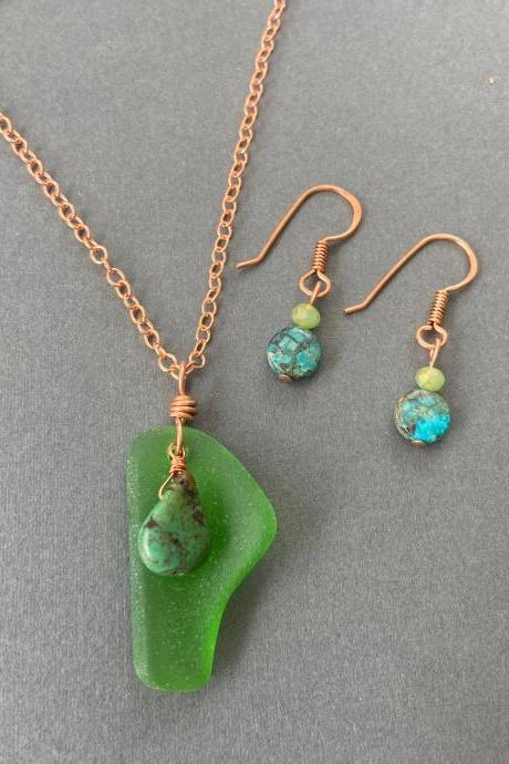 Lake Superior Green Beach Glass Sea Glass Turquoise Copper Necklace Earring Set